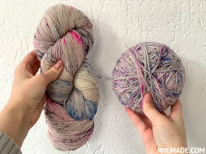 How to unwind a hank of yarn tutorial - yarn hank into yarn ball