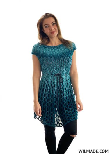 Crochet poncho dress - free crochet pattern - blue katia shadow yarn