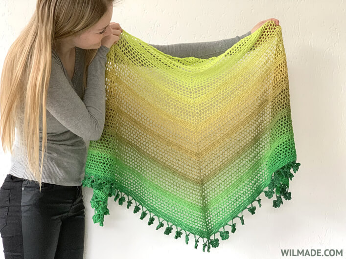 Wish Me Luck Shawl - driehoeksjaal door Wilmade - gratis omslagdoek haakpatroon