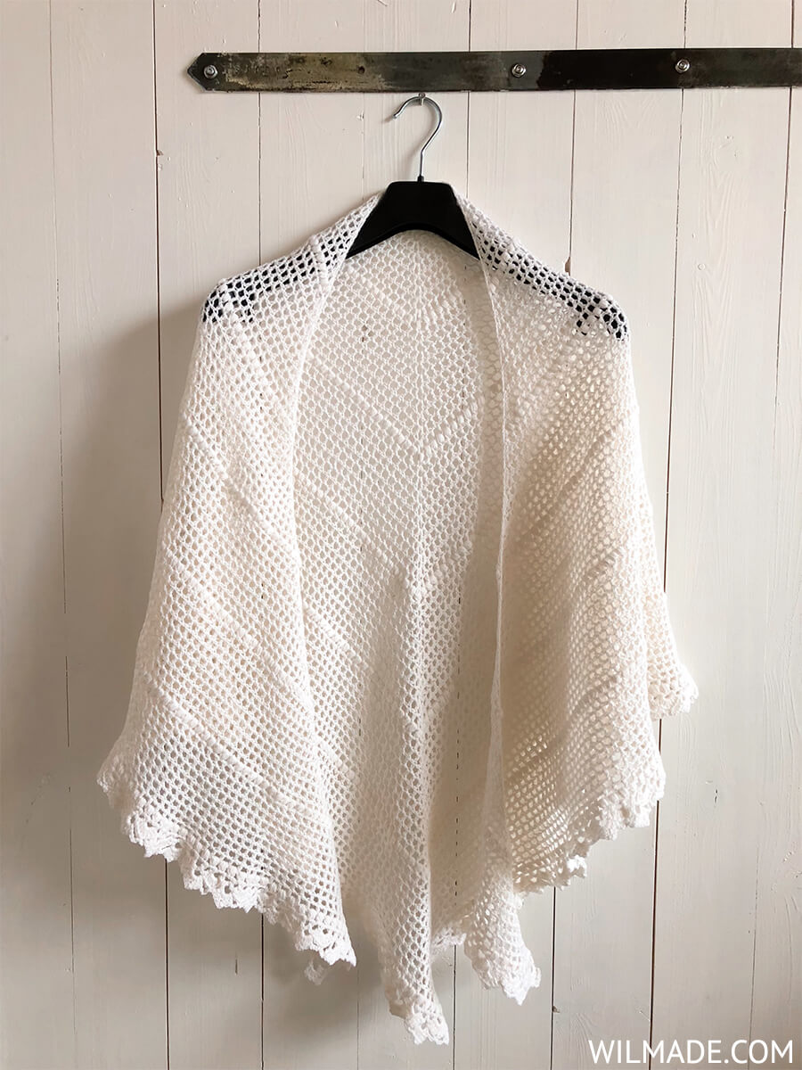 Crochet bridal shawl made with lionbrand yarns