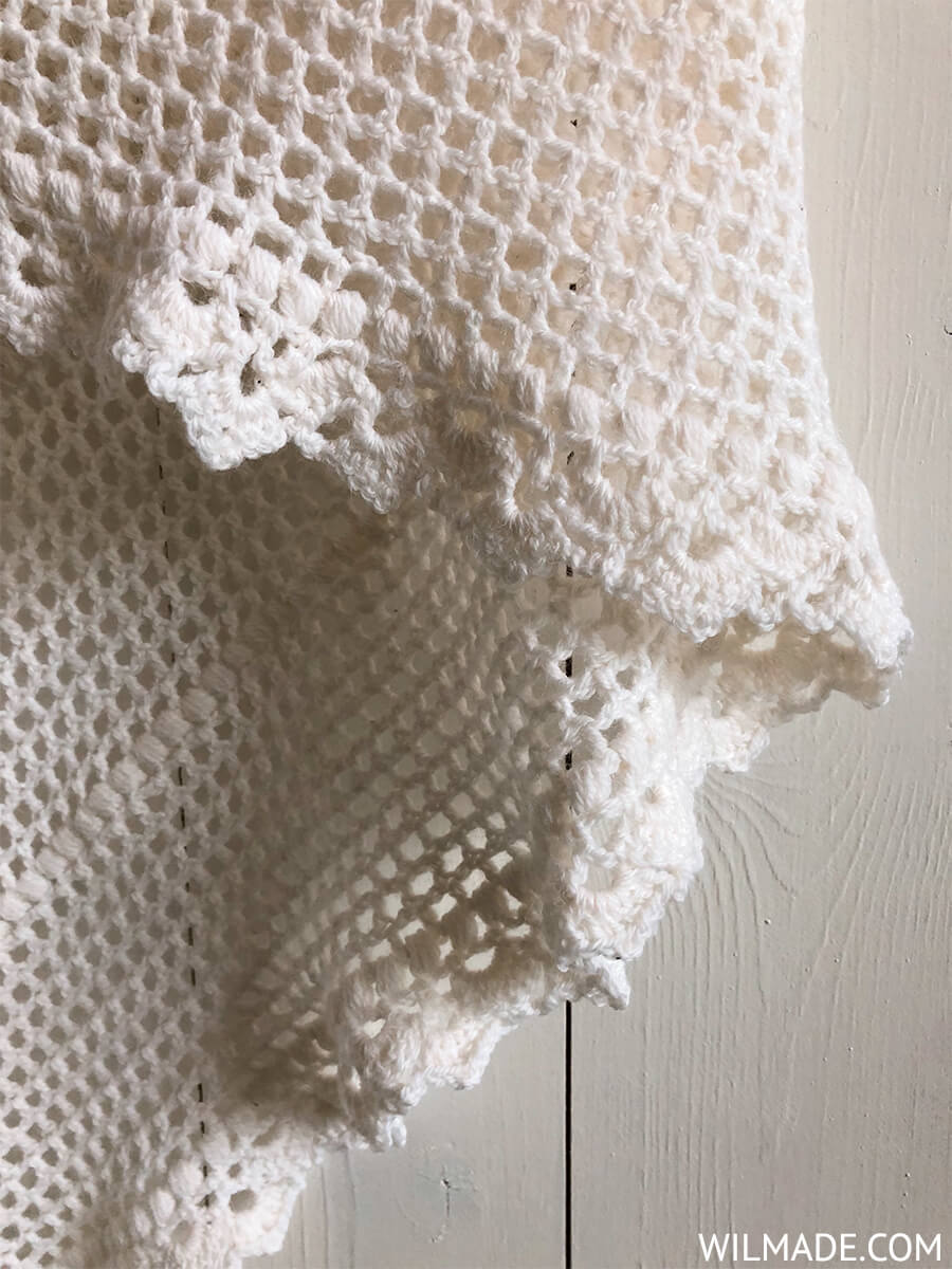 Crochet bridal shawl with beautiful border. Free crochet pattern by Wilmade