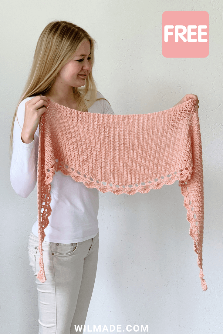 To The Point Shawl: free crochet pattern for beginners by Wilmade