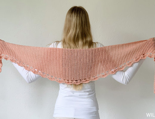 To The Point Shawl made with Lionbrand Beautiful You yarn - free circular crochet shawl pattern by Wilmade