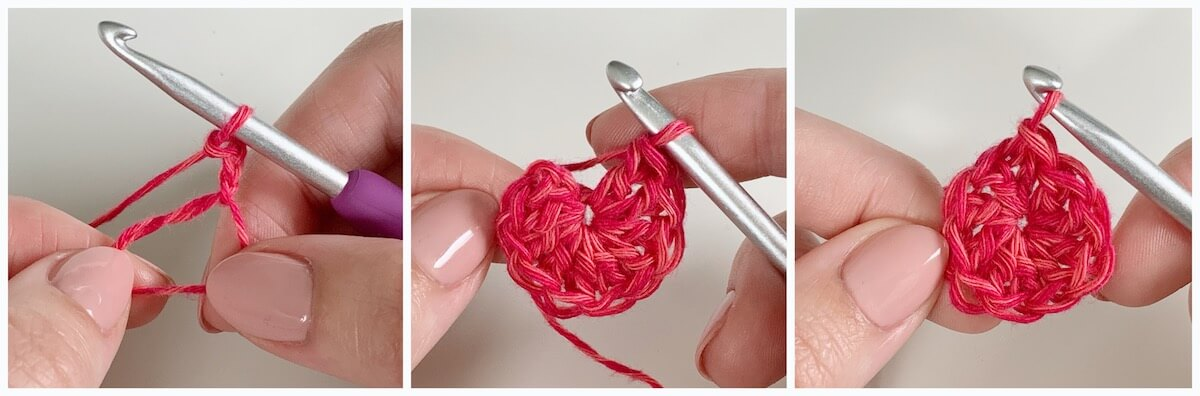 How to crochet an invisible join when working in the round - magic ring, row 1- ch 2, 9 dc