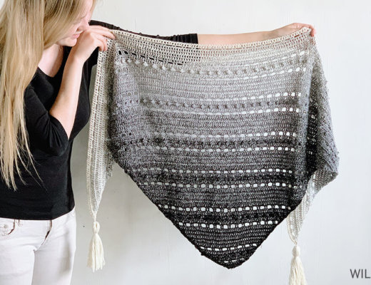 Triangle scarf crochet pattern for beginners - Pop-Up Shawl by Wilmade