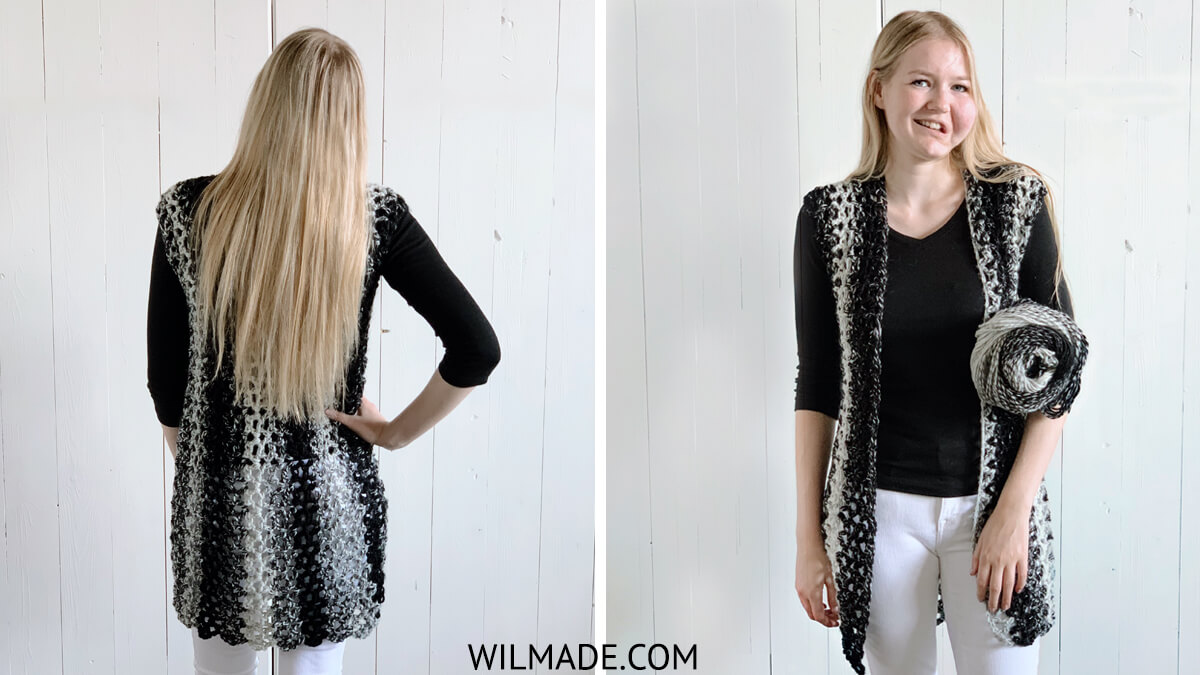 Crochet a sleeveless vest with Lionbrand Scarfie yarn - front and back view