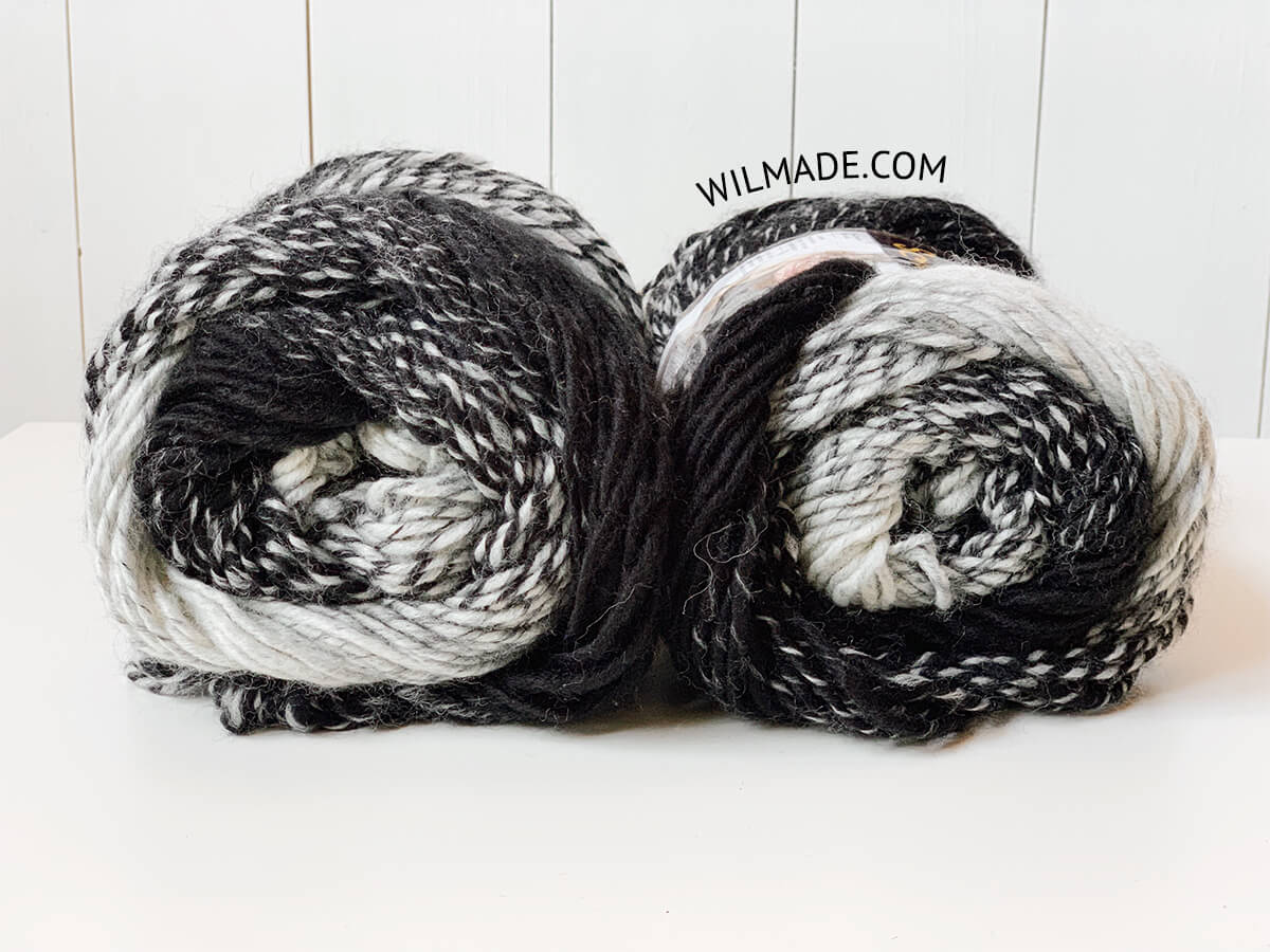 Lionbrand Scarfie yarn color taupe charcoal 200