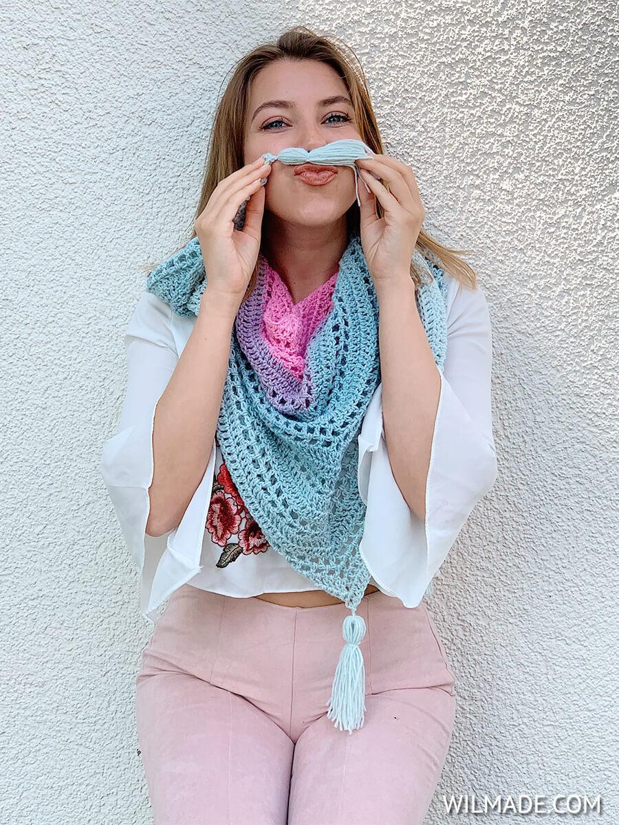 mandala yarn scarf pattern - free crochet triangle shawl pattern mustache