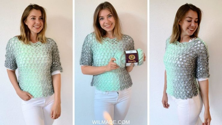 Easy crochet summer top by Wilmade - beginners pattern with Scarfie yarn