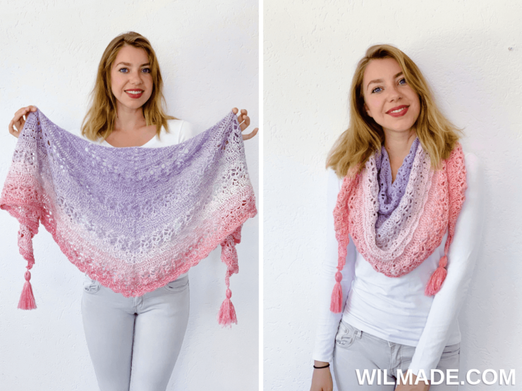 Flower Puff Shawl - beautiful triangle shawl tutorial for FREE