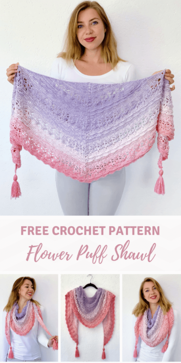 Flower Puff Shawl - gratis omslagdoek haken haakpatroon- Pinterest pin