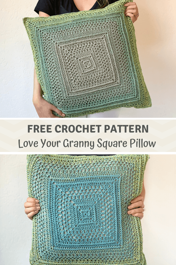 Love Your Granny Square Pillow - crochet pillow cover pattern pinterest pin
