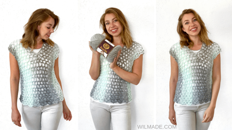 Simple crochet top pattern made with Lion Brand Scarfie yarn