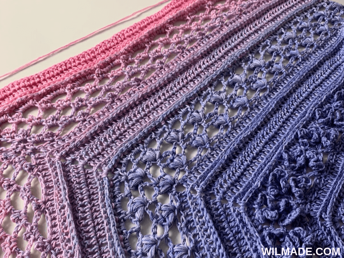 Vela Flower Shawl - close-up of crochet flower shawl stitches