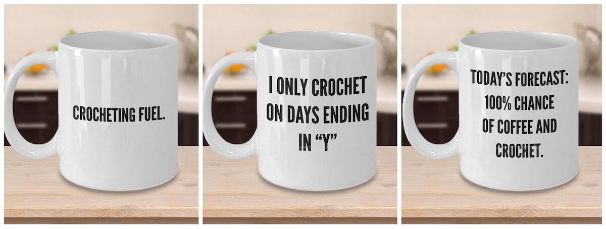 Unique crochet gifts - crochet mugs