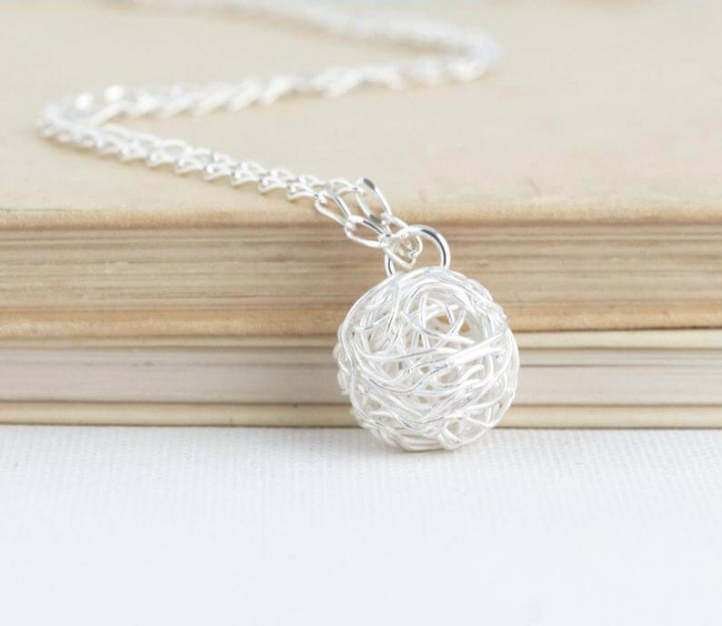 ball of yarn necklace jewelry - unique crochet gift idea