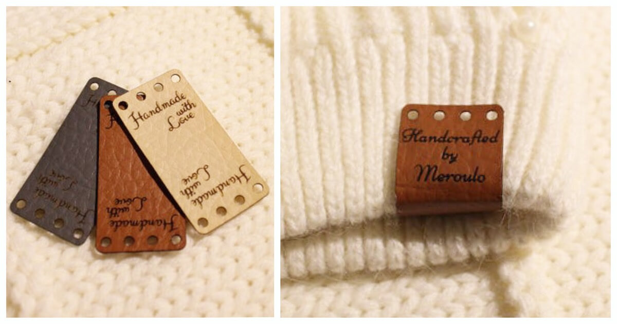 unique crochet gifts - leather labels with name or logo