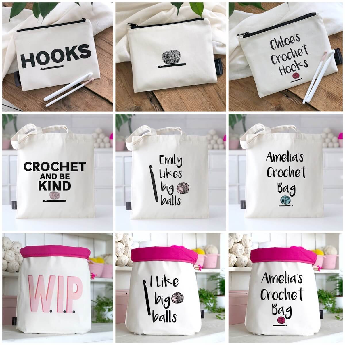 unique crochet gifts - personalized crochet hook bags and crochet project bags