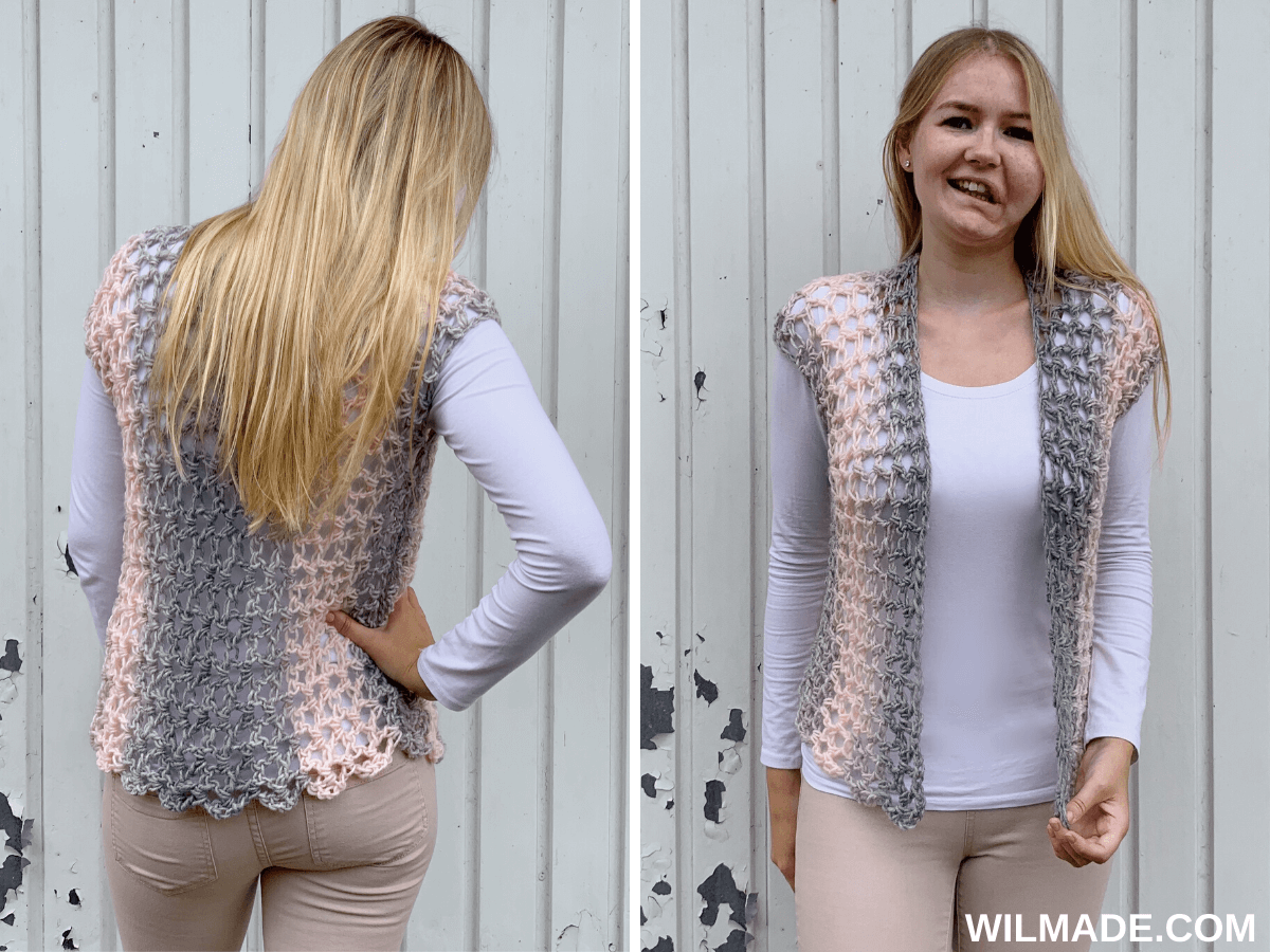 Crochet poncho vest made with Lion Brand Scarfie yarn - free crochet pattern
