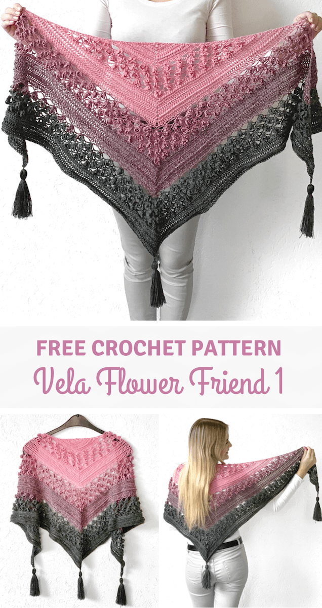 Free crochet flower shawl pattern - Vela Flower Friend Shawl pinterest pin