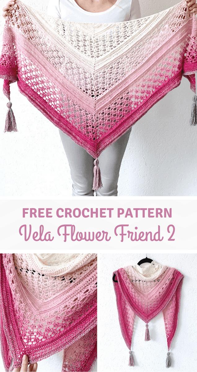 Gehaakte sjaal met bloemen - Vela Flower Friend Shawl 2 pinterest pin
