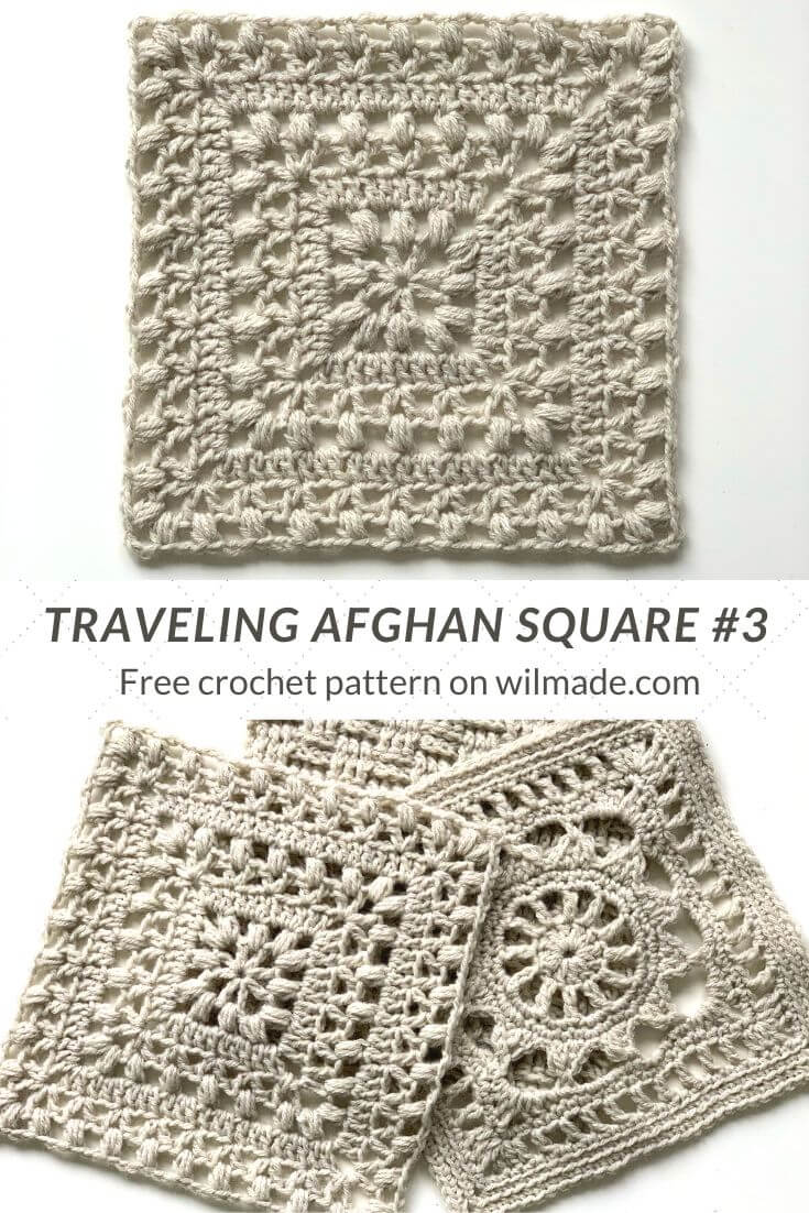Lion Brand Traveling Afghan square 3 by Wilmade - pinterest pin