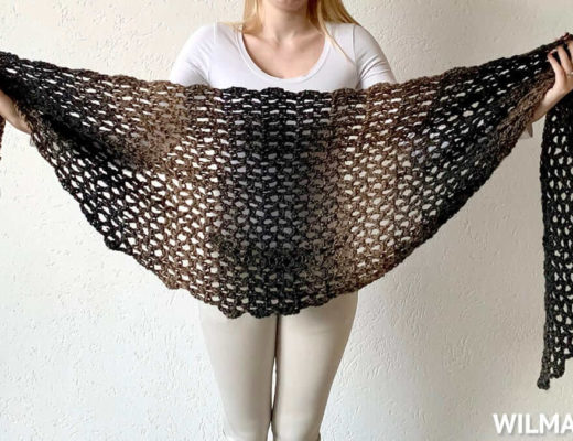 Simple Scarfie Shawl made with lionbrand scarfie yarn