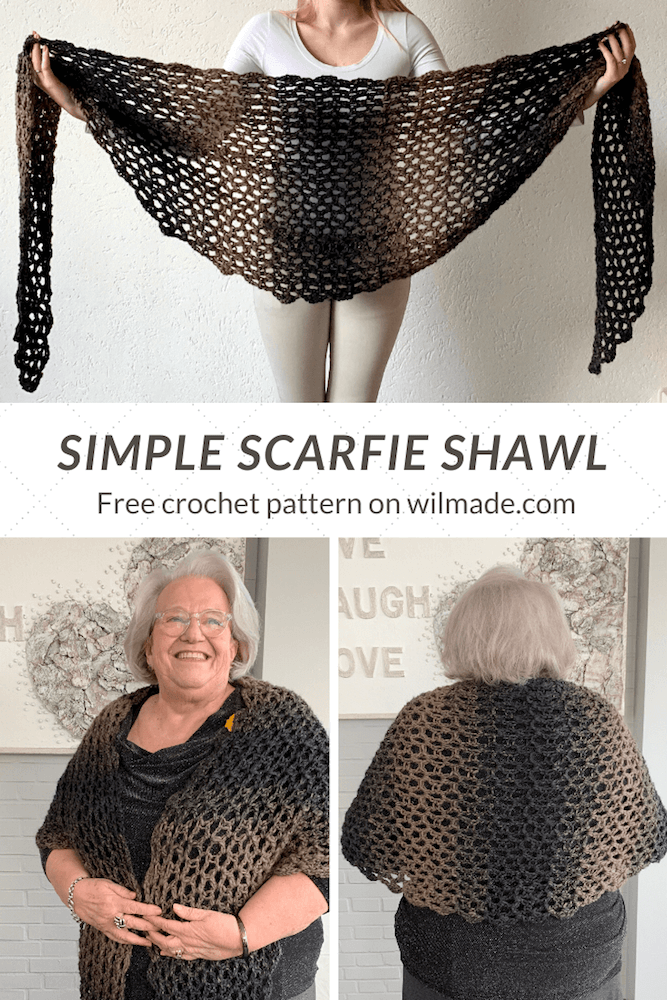 Simple Scarfie V-stitch shawl pinterest pin