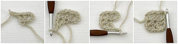 Traveling Afghan Square crochet tutorial row 1
