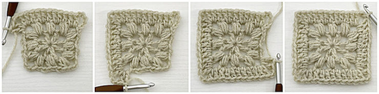 Traveling Afghan Square crochet tutorial row 3