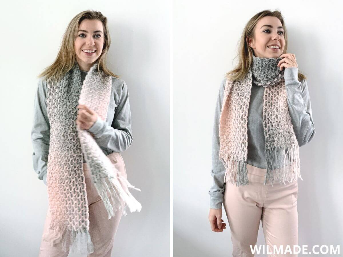 Happy Hailey Scarf - easy crochet scarf pattern for beginners with Lion Brand Scarfie yarn