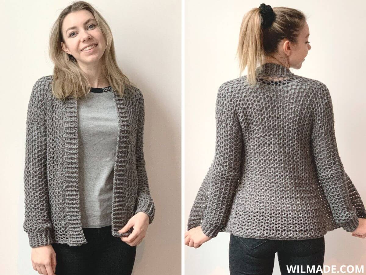 Touch of Merino Cardigan which is a simple crochet cardigan for beginners worn by model size S