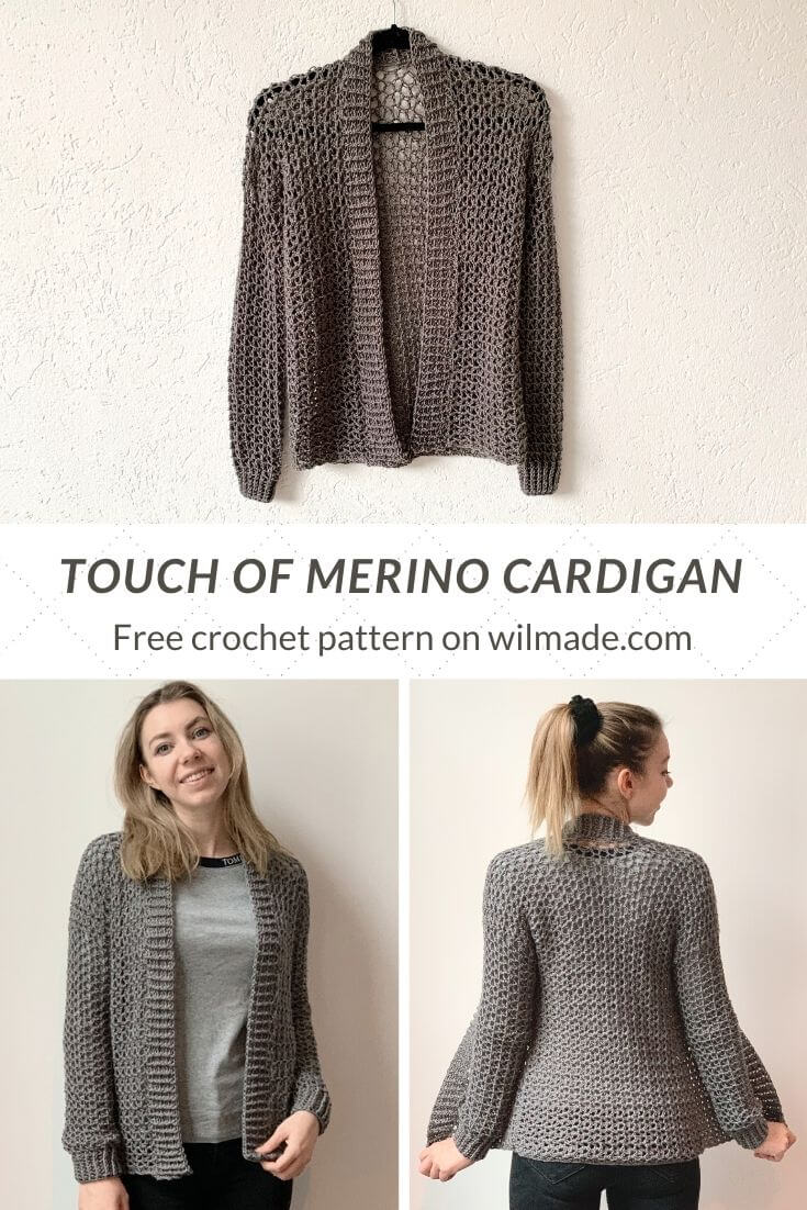 Pinterest image of a simple crochet cardigan for beginners