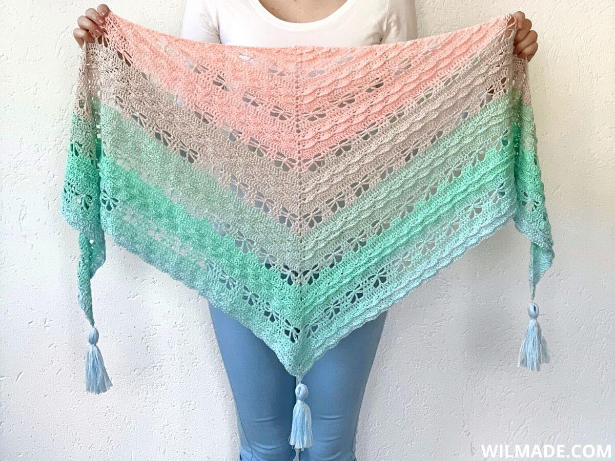 Jaycee Butterfly Shawl - free crochet butterfly shawl pattern by Wilmade
