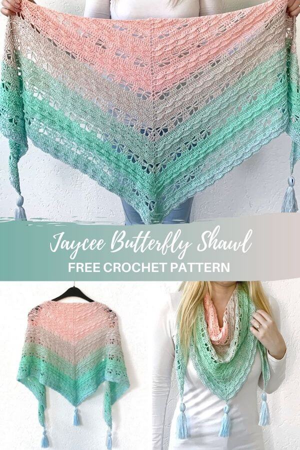 Jaycee Butterfly shawl - free crochet pattern - pinterest pin