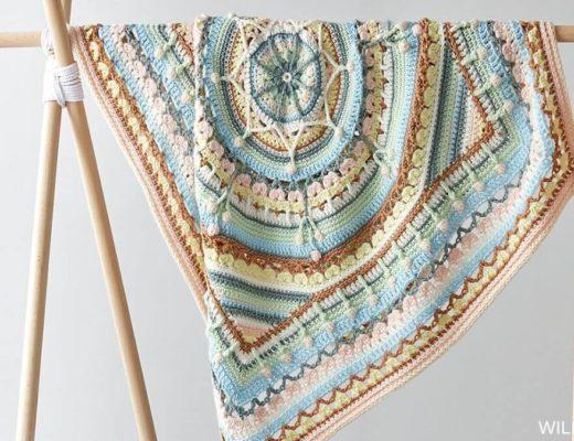 Katia Oasis Mandala CAL 2020 baby blanket by bykaterinacrochet and video by Crochething.com