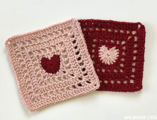 crochet heart afghan - pink and red