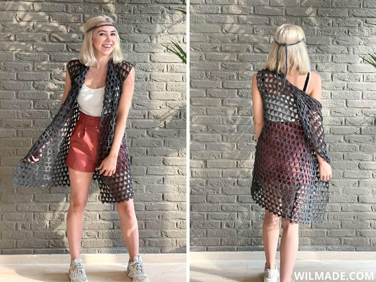 Strand beach cardi cover up voor beginners: gehaakte vest voor beginners met boho touch