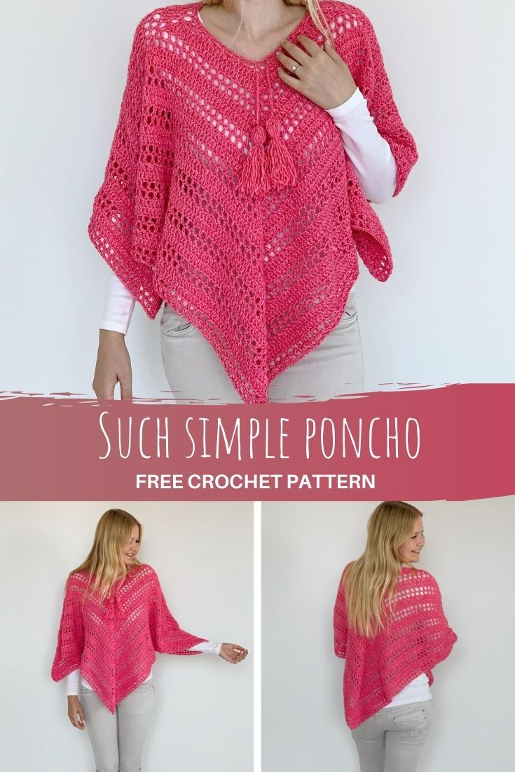 Such Simple Poncho - free crochet poncho for beginners - pinterest pin