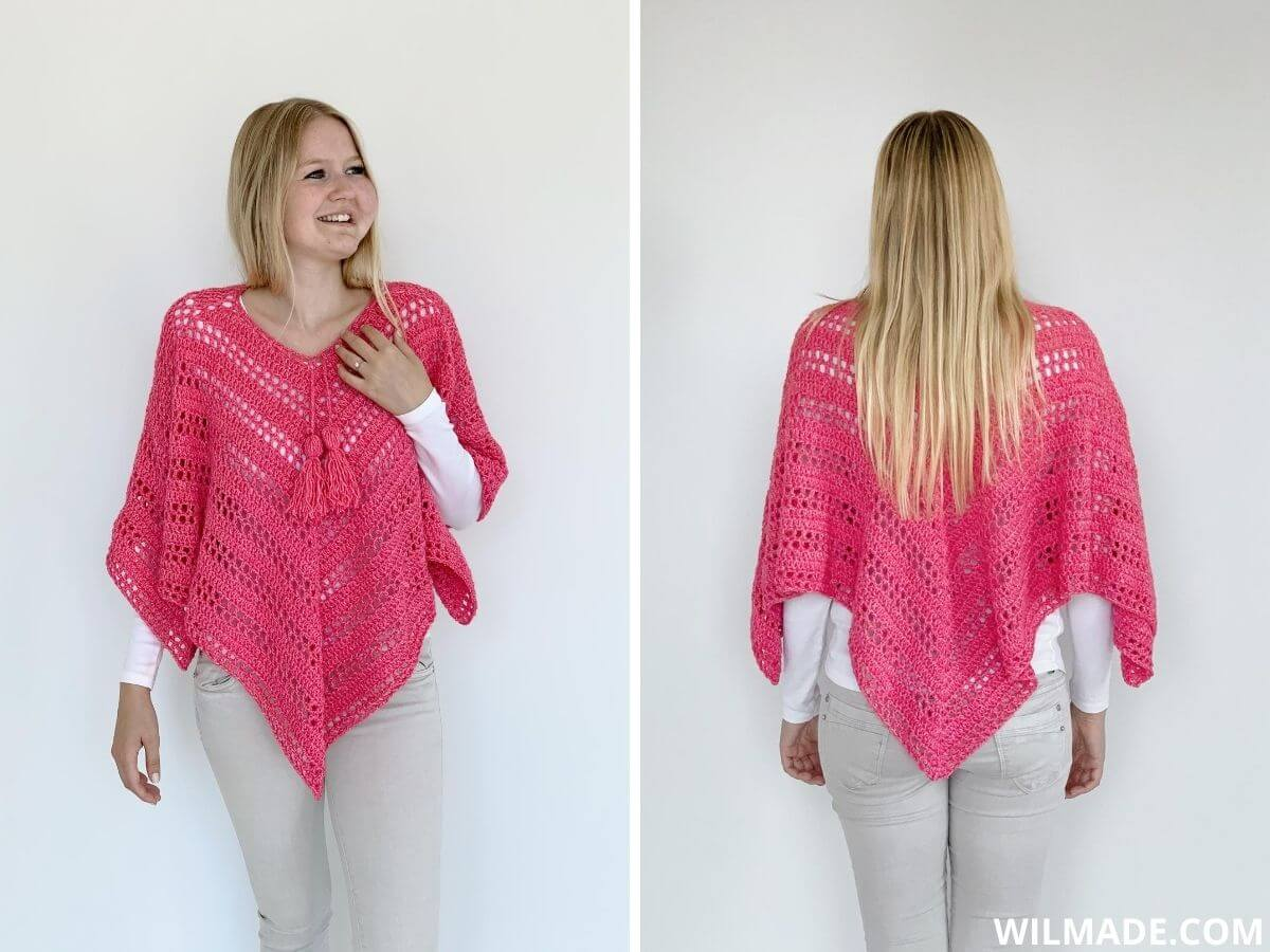 Such Simple Poncho: free crochet poncho for beginners + video tutorial made with Lionbrand Jeans Colors
