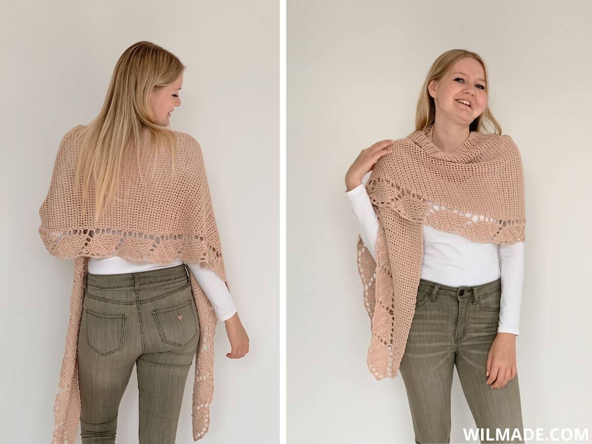 gehaakte sjaal/omslagdoek met rand van bladeren - gratis haakpatroon pinterest pin