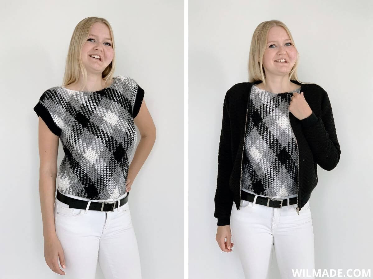 Planned pooling crochet top - Katia Magic Diamonds - free crochet pattern