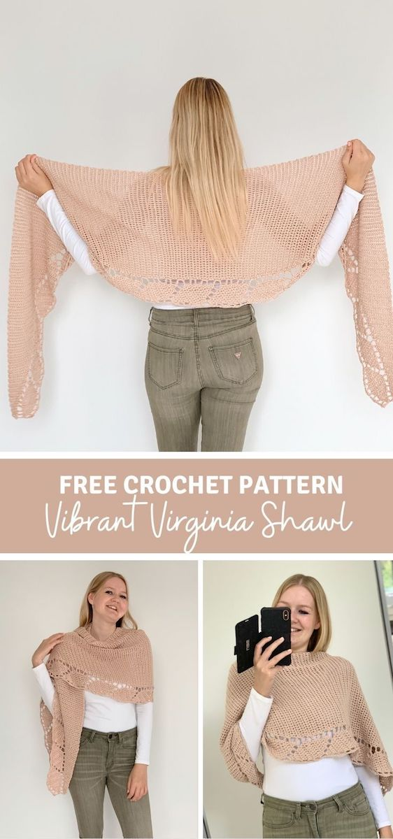 Vibrant Virginia Shawl - free crochet pattern - pinterest pin