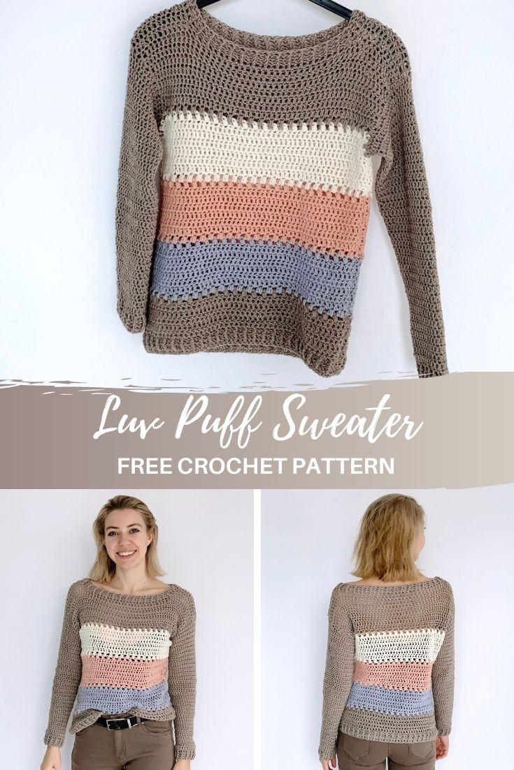Luv Puff Sweater - free crochet pattern - pinterest pin