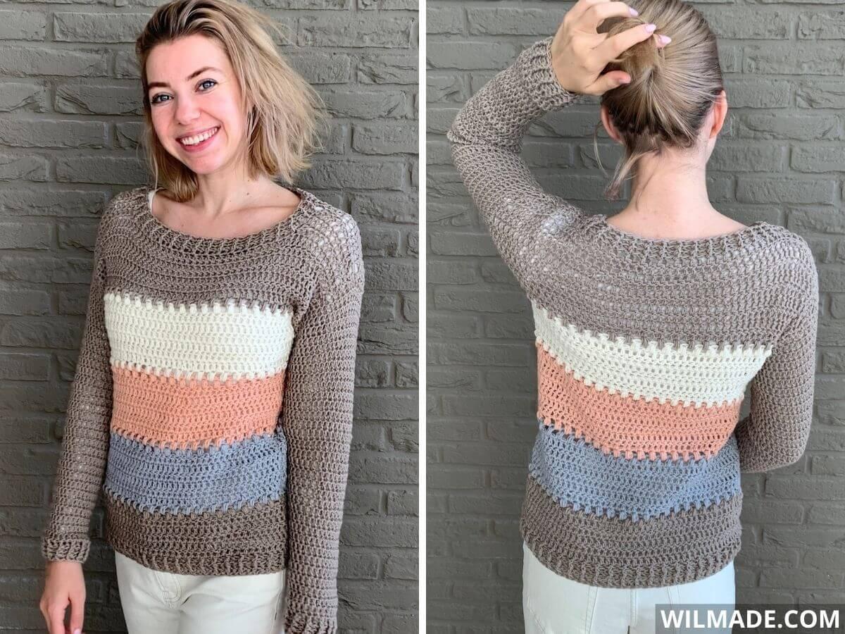 Luv Puff Sweater with Lionbrand Superwash Merino - free crochet pattern