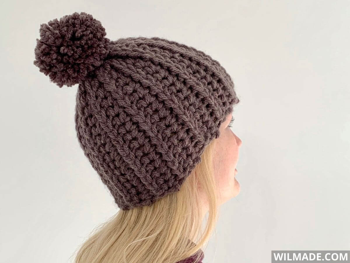 You + Me Hat - free crochet beanie pattern with Hue + Me Lionbrand Yarn