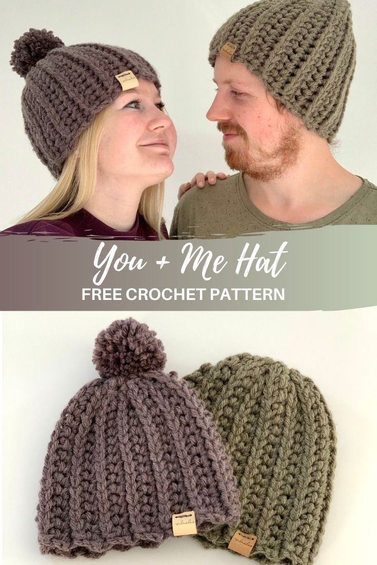 You + Me Hat - free crochet pattern - Pinterest pin
