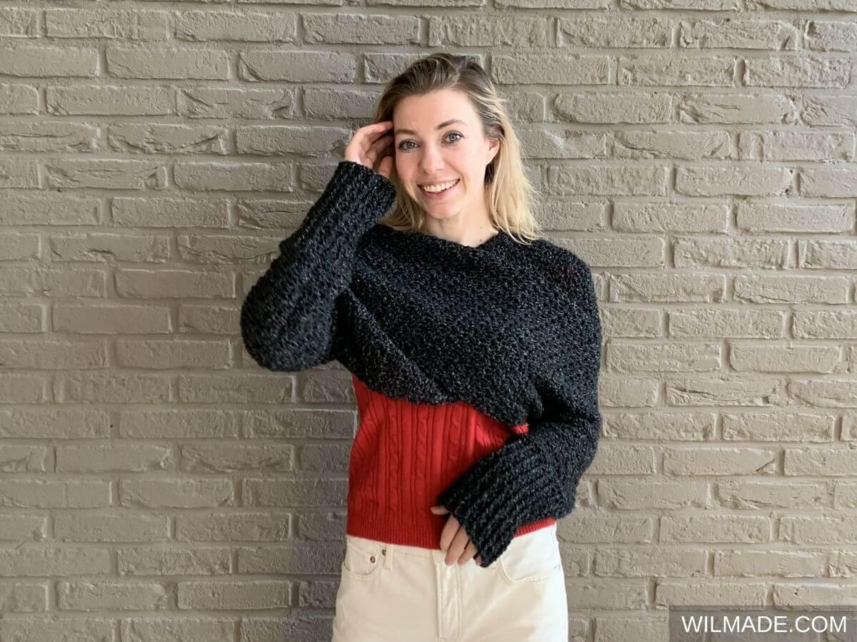 Crochet Sweater Scarf with Lionbrand Jeans yarn - free crochet pattern