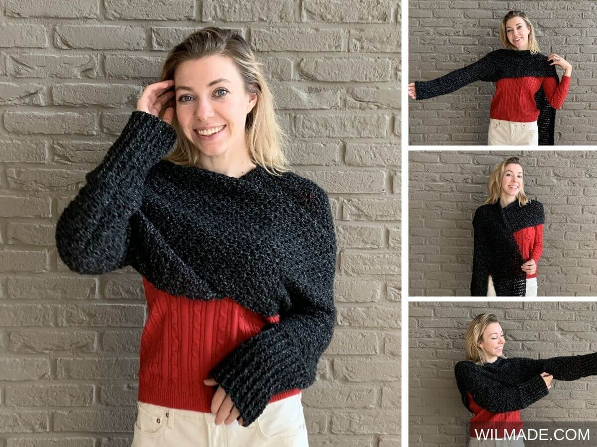 Crochet Sweater Scarf with Lionbrand Jeans yarn