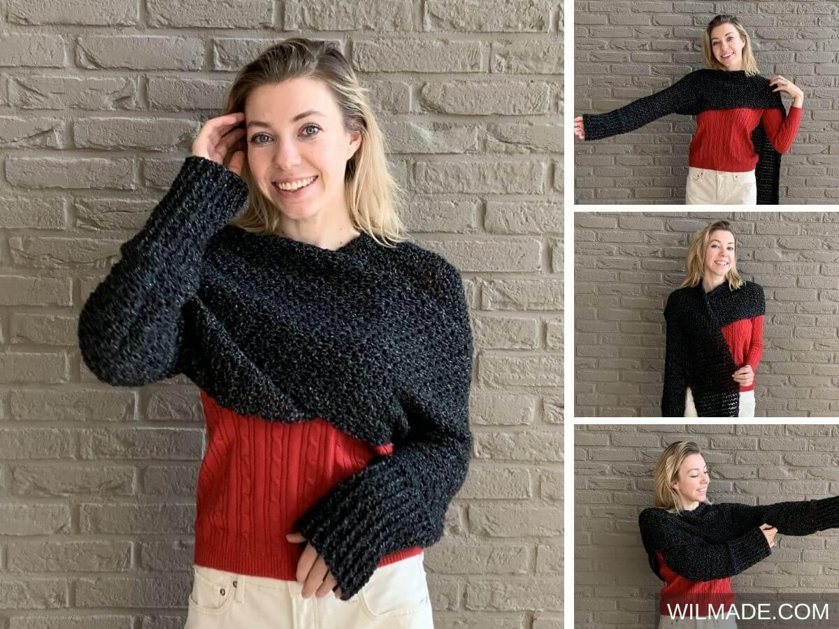Gehaakte mouwsjaal - een sjaal met mouwen! Gratis haakpatroon + video tutorial in maat S-5XL